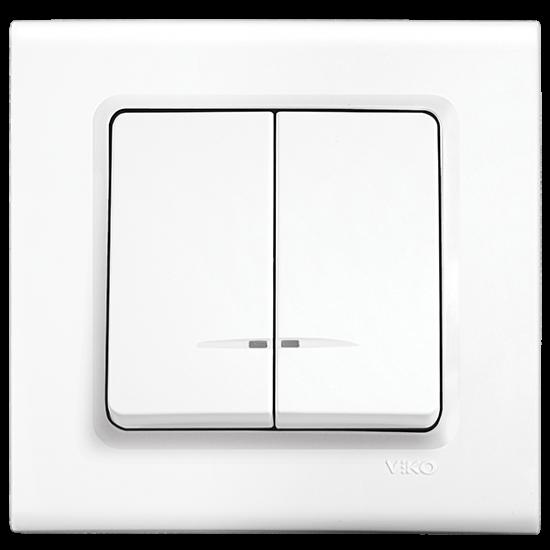 Viko Linnera Işıklı Komütatör - Beyaz 90440050 (Çerçeve Hariç)