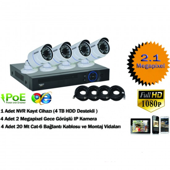 NVR POE KIT 4 Kameralı Set 2.1 MP SV-7904FP