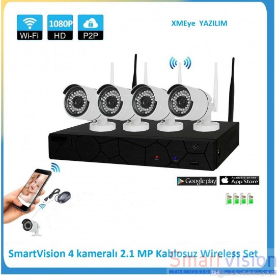 Nvr Kit Kablosuz 4 Kameralı 2.1 MP İP Wireless Set Sv-P0004HW